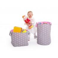 Koszyk w gwiazdki na zabawki, różowy wysoki