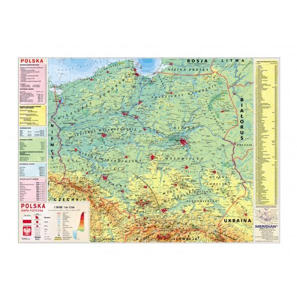 Polska mapa fizyczna z elementami ekologii