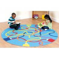 Kolorowe wstążki - dywanik okrągły