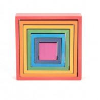Klocki drewniane Tęczowe kwadraty