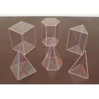 Bryły geometryczne - wielościany prawidłowe, kpl. 6 szt.