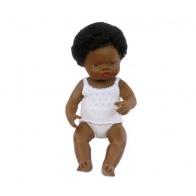 Lalka afrykańska 40 cm z włosami - dziewczynka