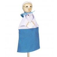 Pacynka na rękę z drewnianą główką - babcia