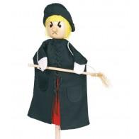 Pacynka na rękę z drewnianą główką - czarownica