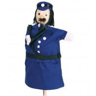 Pacynka na rękę z drewnianą główką - policjant