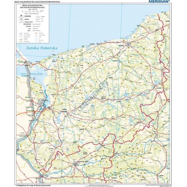 Woj Zachodniopomorskie Mapa Administracyjno Samochodowa