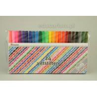 Flamastry zmywalne cienkie - 24 kolory