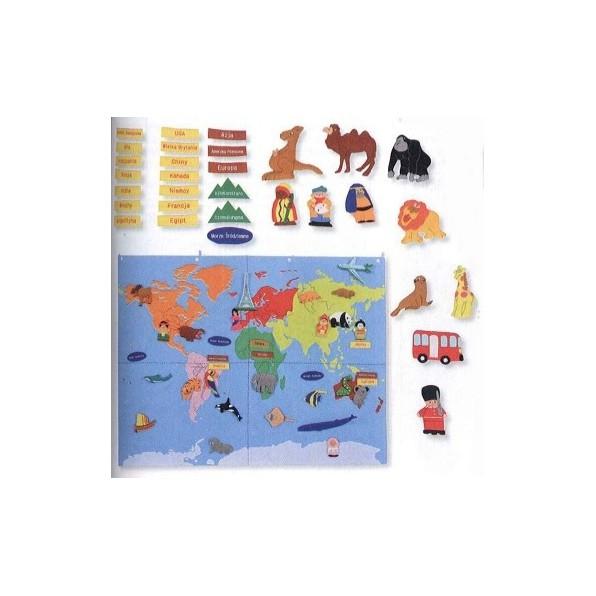 Mapa świata - makatka z ruchomymi elementami